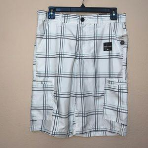 Tony Hawk White Black Teal Plaid Shorts Sz 16 NWT
